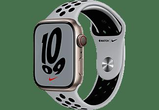 APPLE Watch Nike Series 7 GPS + Cell 45mm Aluminiumgehäuse, Sportarmband, Polarstern/Pure Platinum/Schwarz
