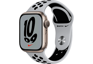 APPLE Watch Nike Series 7 GPS 41mm Aluminiumgehäuse, Sportarmband, Polarstern/Pure Platinum/Schwarz
