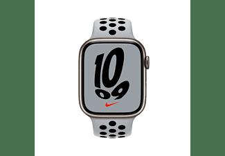 APPLE Watch Nike Series 7 GPS 45mm Aluminiumgehäuse, Sportarmband, Polarstern/Pure Platinum/Schwarz