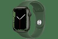 APPLE Watch Series 7 (GPS) 45mm Smartwatch Fluorelastomer, 140 - 220 mm, Armband: Grün, Gehäuse: Grün