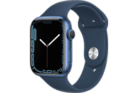APPLE Watch Series 7 (GPS) 45mm Smartwatch Fluorelastomer, 140 - 220 mm, Armband: Blau, Gehäuse: Blau