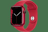 APPLE Watch Series 7 (GPS) 45mm Smartwatch Fluorelastomer, 140 - 220 mm, Armband: Rot, Gehäuse: Rot