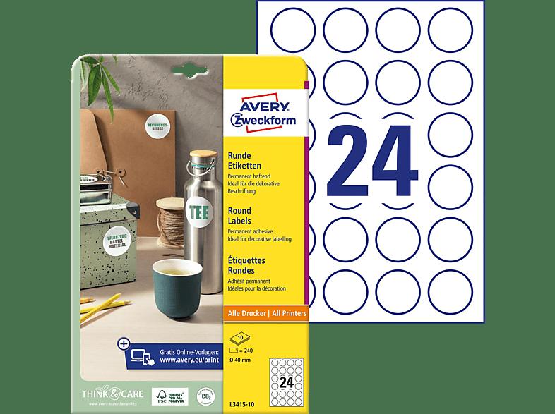 AVERY ZWECKFORM L3415-10 Universal Etiketten 210 x 297 mm Ø 40 A4 Inhalt: 240 / 10 Bogen
