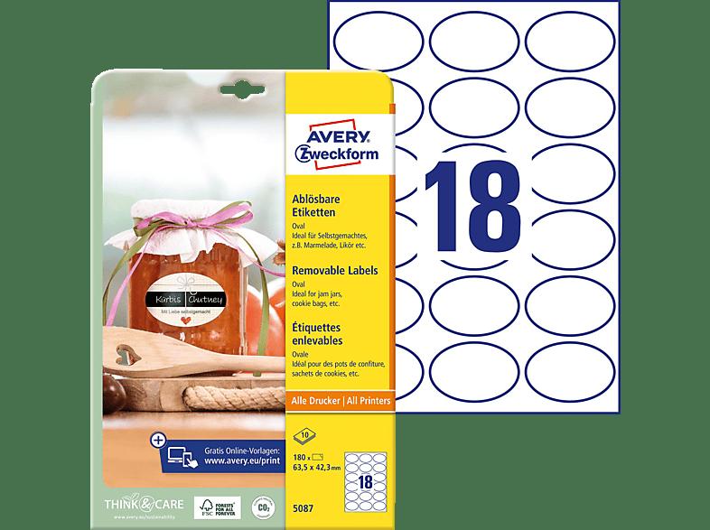 AVERY ZWECKFORM 5087 Universal Etiketten 210 x 297 mm 63.5 42.3 A4 Inhalt: 180 / 10 Bogen