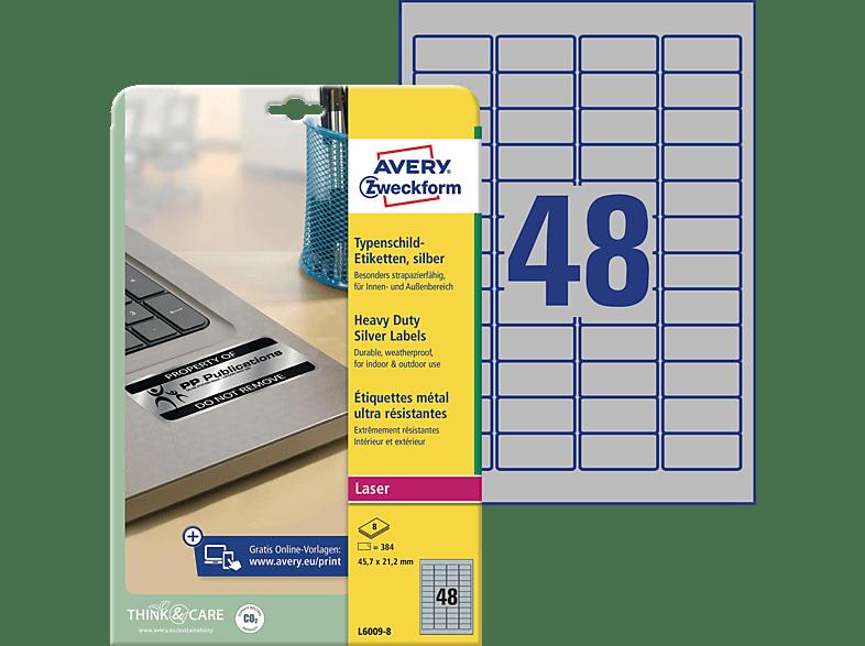 AVERY ZWECKFORM L6009-8 Typenschild Etiketten 210 x 297 mm 45.7 21.2 A4 Inhalt: 384 / 8 Bogen