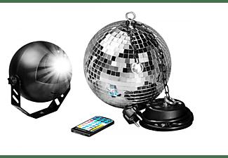 7EVEN 7even LED Spiegelkugelset 30cm mit Fernbedienung / Party Keller Disco Disko Kugel Motor Farbige LED Spiegelkugel, silber