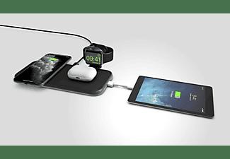 ZENS 4-in-1 Aluminium Qi Wireless Ladegerät mit Apple Watch Ladekabel Induktive Ladestation Apple, Samsung, uvm., Schwarz