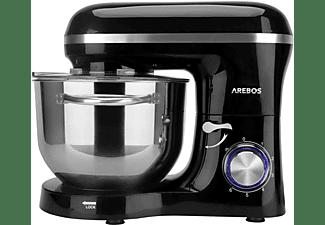 AREBOS Küchenmaschine mit 6L Edelstahl-Rührschüssel Küchenmaschine Schwarz (Rührschüsselkapazität: 6 Liter, 1500 Watt)