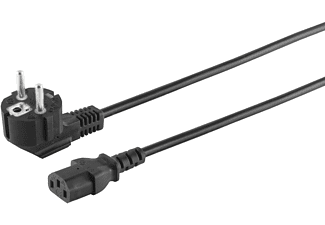 KABELBUDE Schutzkontakt 90°/Kaltgerätebuchse CEE7/7-C13 15m, Kaltgerätekabel, 15 m, schwarz