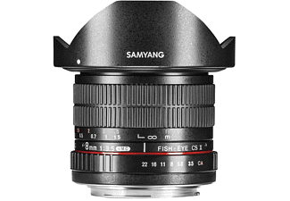 SAMYANG MF 8mm F3,5 Fisheye II APS-C Canon EF 1:3,5 (Objektiv für Canon EF-Mount, Schwarz)