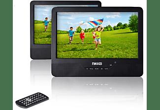 NIKKEI NPD910T Tragbarer DVD-Player, 2 LCD-Displays, 9 Zoll Tragbarer DVD-Player, Schwarz