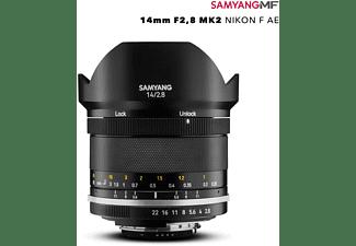 SAMYANG MF 14mm F2,8 MK2 Nikon F AE 1:2,8 (Objektiv für Nikon F-Mount, Schwarz)