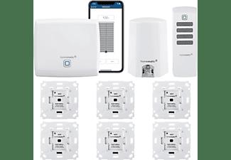 HOMEMATIC IP Funk Rolladensteuerung mit Fernbedienung, Lichtsensor und App für 6 Räume - Komplettpaket