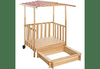 TECTAKE Sandkasten und Spielveranda mit Dach Gretchen Sandkästen, rot