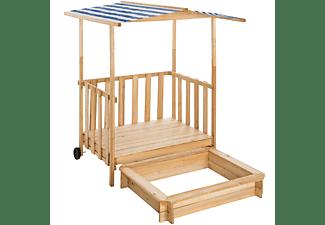 TECTAKE Sandkasten und Spielveranda mit Dach Gretchen Sandkästen, blau