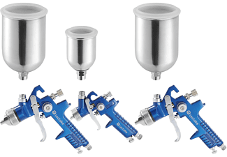 TECTAKE 3 HVLP Lackierpistolen (0,8/1,3/1,7mm Düse) Lackierpistolen, blau