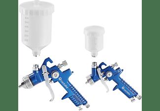 TECTAKE 2 HVLP Lackierpistolen (0,8/1,3mm Düse) Lackierpistolen, blau