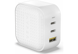 HYPER HyperJuice 66 Watt GaN-Ladegerät Multi-Port Ladegerät z. B: Apple, Samsung, Huawei, Xiaomi, Nokia, Sony, LG, uvm., Weißt
