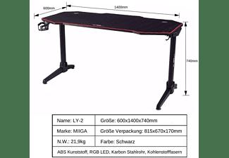 MIIGA Gaming Tisch mit LED-Beleuchtung Gaming Tisch