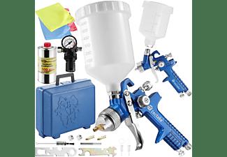 TECTAKE 2 HVLP Lackierpistolen (1,0/1,7mm Düse) inkl. Silikonentferner Lackierpistolen, blau