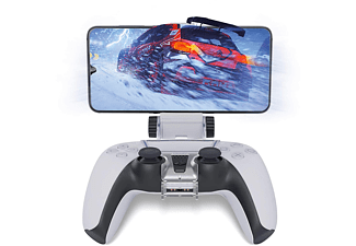 GAMINGER Halterung PS5 Controller für Smartphones, Controller Halterung, transparent grau