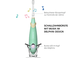 AILORIA BUBBLE BRUSH Kinder-Schallzahnbürste mit Musik und LED grün inkl. 2 Bürstenköpfe Kinder-Schallzahnbürste grün