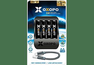 X OXOPO 4 Stück Li-ion AA Akku Set mit USB-C Schnellladegerät AA Ladegerät, Li-ion, 1.5 Volt, 1550 mAh