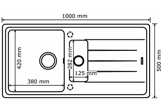 QUELLMALZ Victory Granitspüle  S1000 Spüle (500 mm)