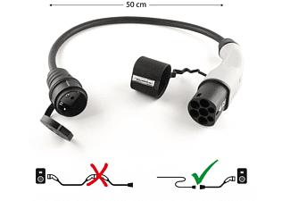 WALLBOX24.DE DER E-PROFI Adapterkabel Typ 2 auf Schuko 16A Adapterkabel e-Mobil Ladestationen, Multicolor