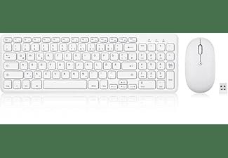 PERIXX PERIDUO-613 W, Tastatur Maus Set, Weiß