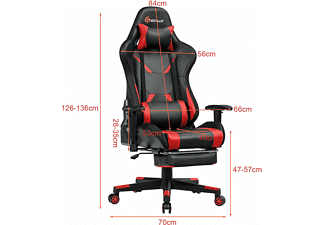 COSTWAY PC Stuhl Gaming Stuhl, Rot