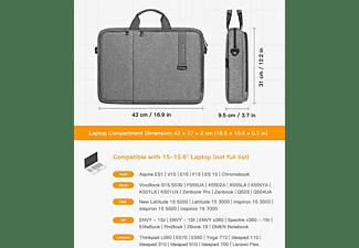 INATECK 15.6 Zoll Laptoptasche Hülle Schultertasche Multifunktionale Aktentasche Notebooktasche Sleeve für Apple,Lenovo, HP,Acer,Asus,SAMSUNG,Dell,Toshiba und andere Polyester, grau