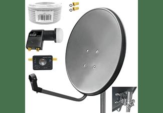 ARLI Satelliten Set 15m Kabel + Satfinder Sat Anlage (80 cm, Twin LNB)