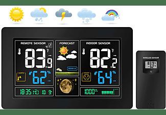 ECHOS Eco-450 Wetterstation Funkwetterstation Wettervorhersage mit Kalender Thermometer, Frontier Black