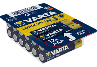 VARTA Longlife Micro AAA Batterie 4703 LR03 Big Box (12er) AlMn Batterie, AlMn, 1.5 Volt, 1.2 Ah