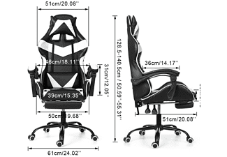 INSMA GS887W Gaming Stuhl, weiß;schwarz
