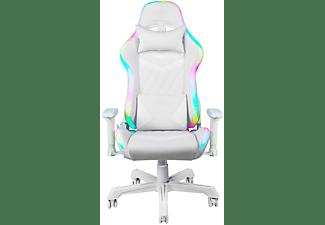DELTACO GAMING GAM-080-W mit RGB Beleuchtung Gaming Stuhl, weiß