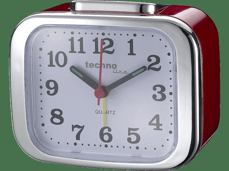 TECHNOLINE Technoline Modell XL rot - analoger Quarzwecker im Retro-Design mit nachtleuchtende Zeiger Quarz-Wecker
