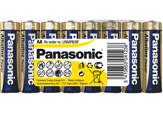 PANASONIC 00231928 LR6APB/8P AA Mignon Batterie, Alkaline, 1.5 Volt 8 Stück
