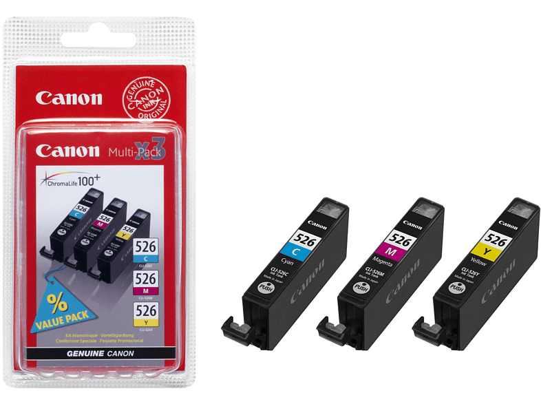CANON CLI-526 C/M/Y Tintenpatrone Multipack mehrfarbig (4541B006)