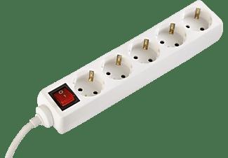 HAMA Steckdosenleiste 5-fach, mit Schalter und Kindersicherung, 1.4 m, Weiß