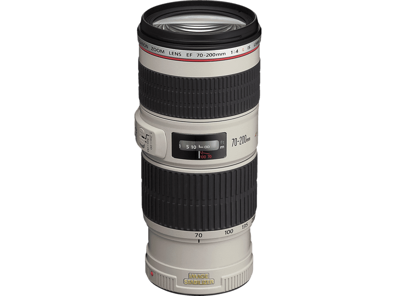 CANON 70 mm-200 mm f/4 EF, IS, L-series, USM (Objektiv für Canon EF-Mount, Weiß/Schwarz)