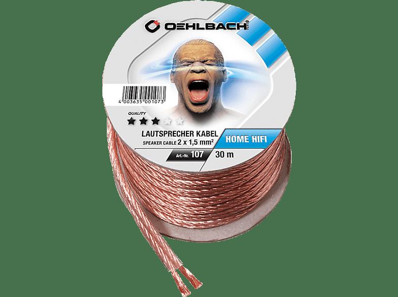 OEHLBACH Speaker Wire SP-15 3000 Lautsprecherkabel 2 x 1,5 qmm, Mini Spule 30 m Lautsprecherkabel