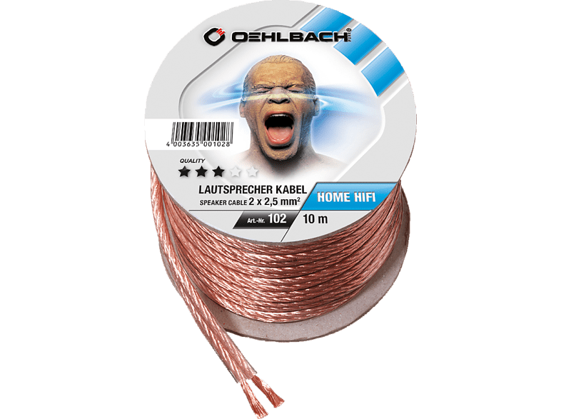 OEHLBACH Speaker Wire SP-25 1000 Lautsprecherkabel 2 x 2,5 qmm, Mini Spule 10 m Lautsprecherkabel