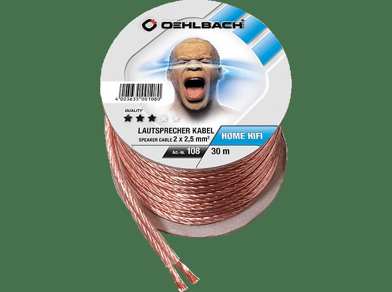 OEHLBACH Speaker Wire SP-25 3000 Lautsprecherkabel 2 x 2,5 qmm, Mini Spule 30 m Lautsprecherkabel, Glas