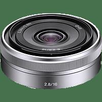 SONY SEL16F28 16 mm f/2.8 ASPH, Circulare Blende (Objektiv für Sony E-Mount, Silber)