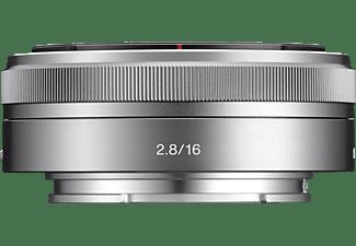 SONY SEL16F28 - 16 mm f/2.8 ASPH, Circulare Blende (Objektiv für Sony E-Mount, Silber)