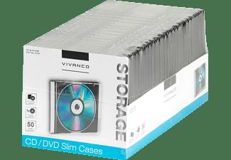 VIVANCO CD/DVD Slim Case, 50er Pack schwarz