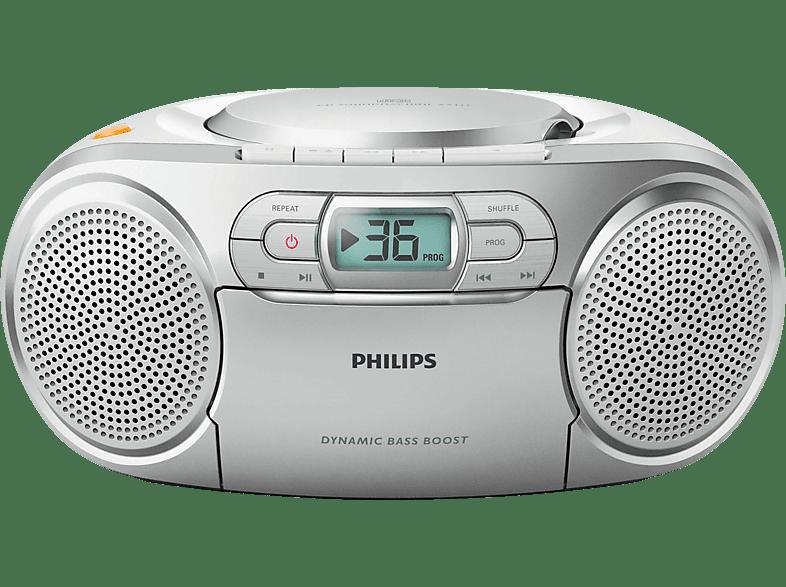 PHILIPS AZ127/12 mit Kassettendeck Radiorecorder, Silber