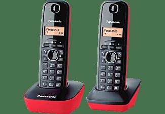 """Teléfono - Panasonic KX-TG 1612 SPR, negro y rojo, pantalla 1.2"""""""